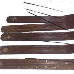 Desi Karigar Wooden Incense Stick Holder ( Brown, Set of 5 )
