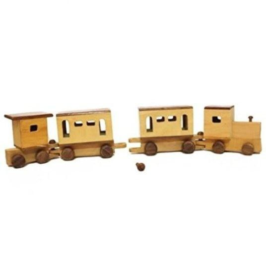Desi Karigar Wooden train made of Rubber and Sheesham wood.