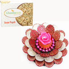Floating Flower T-Lite with 200 gms Soan Papdi