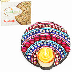 Floating Multicolor T-Lite with 200 gms Soan Papdi