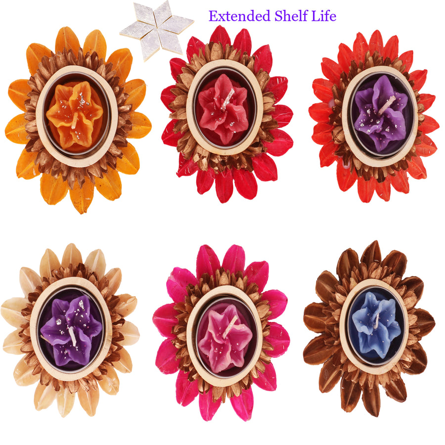 Diwali Candles Set of 6 Natural Flower Floating Candles with 400 gms kaju Katli