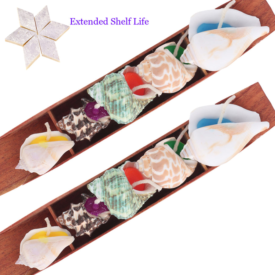 Diwali Candles Set of 2 Shell Candles in a Tray with 400 gms kaju Katli