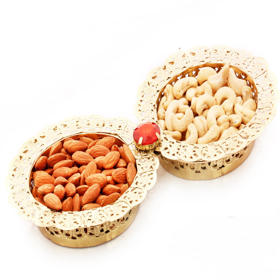 Dryfruits hamper - 2 Golden Bowl of Cashews and Almonds