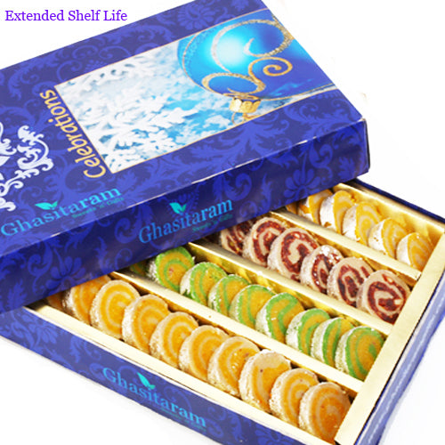 Diwali Gifts sweets-Ghasitarams Assorted Moons Box 800 gms