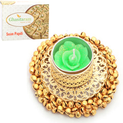 Candles-Golden Gungroo T-Lite with 400 gms Soan Papdi