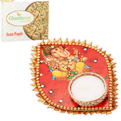 Candles-Ganesha Leaf T-Lite with 400 gms Soan Papdi
