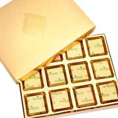 Diwali Chocolates -  Golden 12 pcs Roasted Almond Chocolate Box