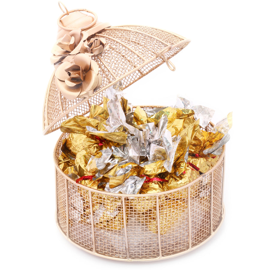 Diwali Chocolates - Golden Cage with Roasted Almond Chocolates