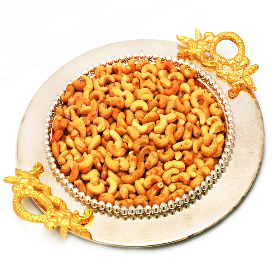 Golden Silver Round Tray with Roasted Cashews