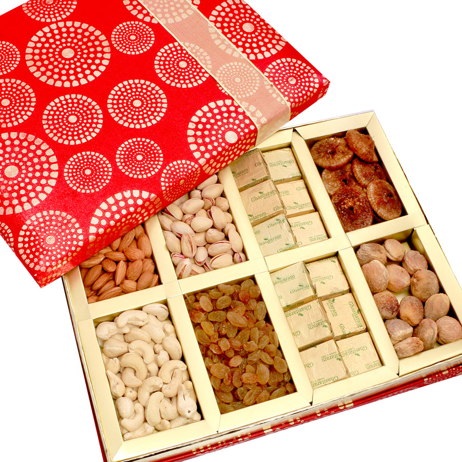 Diwali Dryfruits-Satin 8 Part Dryfruit and Chocolate Box Hamper