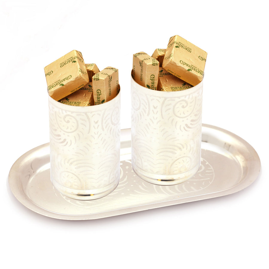 Diwali Chocolates -  Silver Glasses  Set with Chocolates