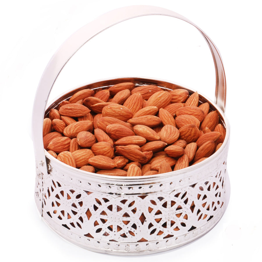 Silver Small Basket with Almonds
