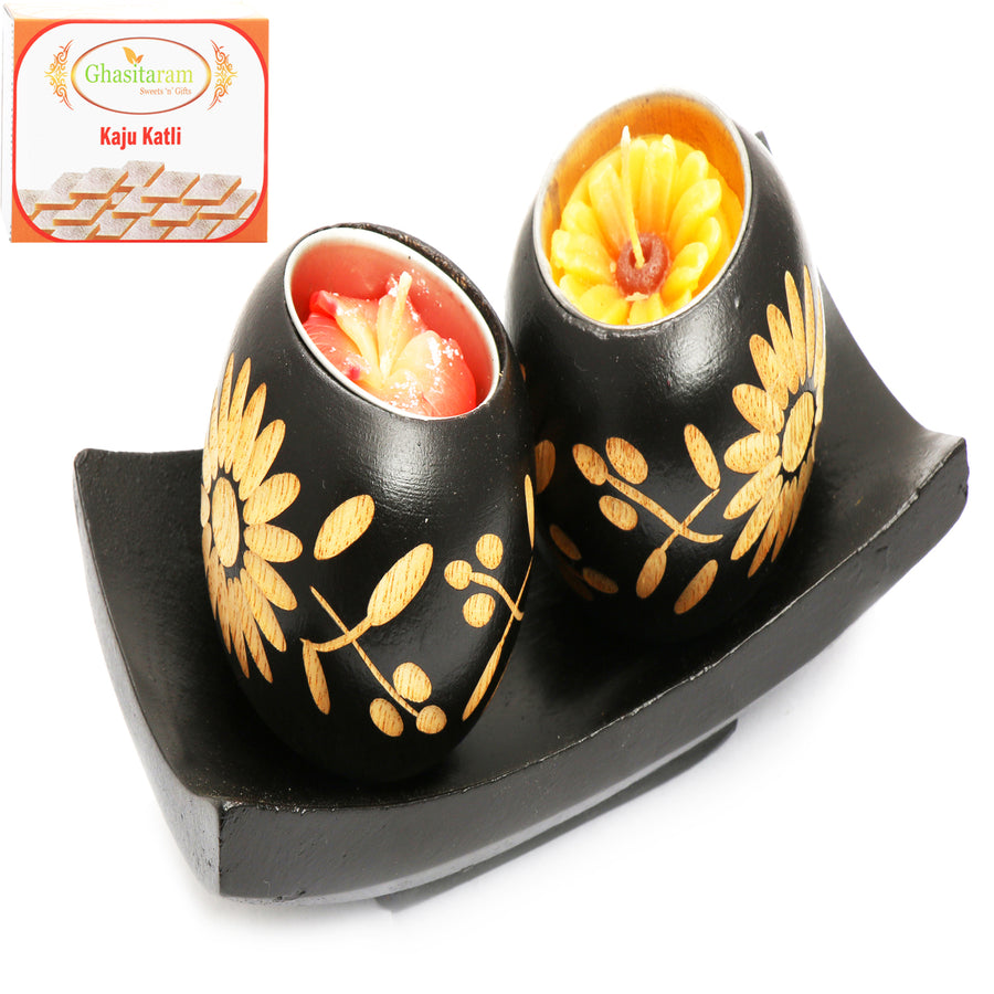 Diwali Candles Set of 2 Wooden Candles with Tray  with 400 gms kaju Katli
