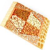 Diwali Dryfruits-4 Part Wood Cut Dryfruit Tray
