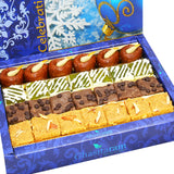 Diwali Gifts Sweets- Assorted Box of Kaju Chocolate Barfi,Mango Bite, Mathura Diya and Besan Barfi 800 gms