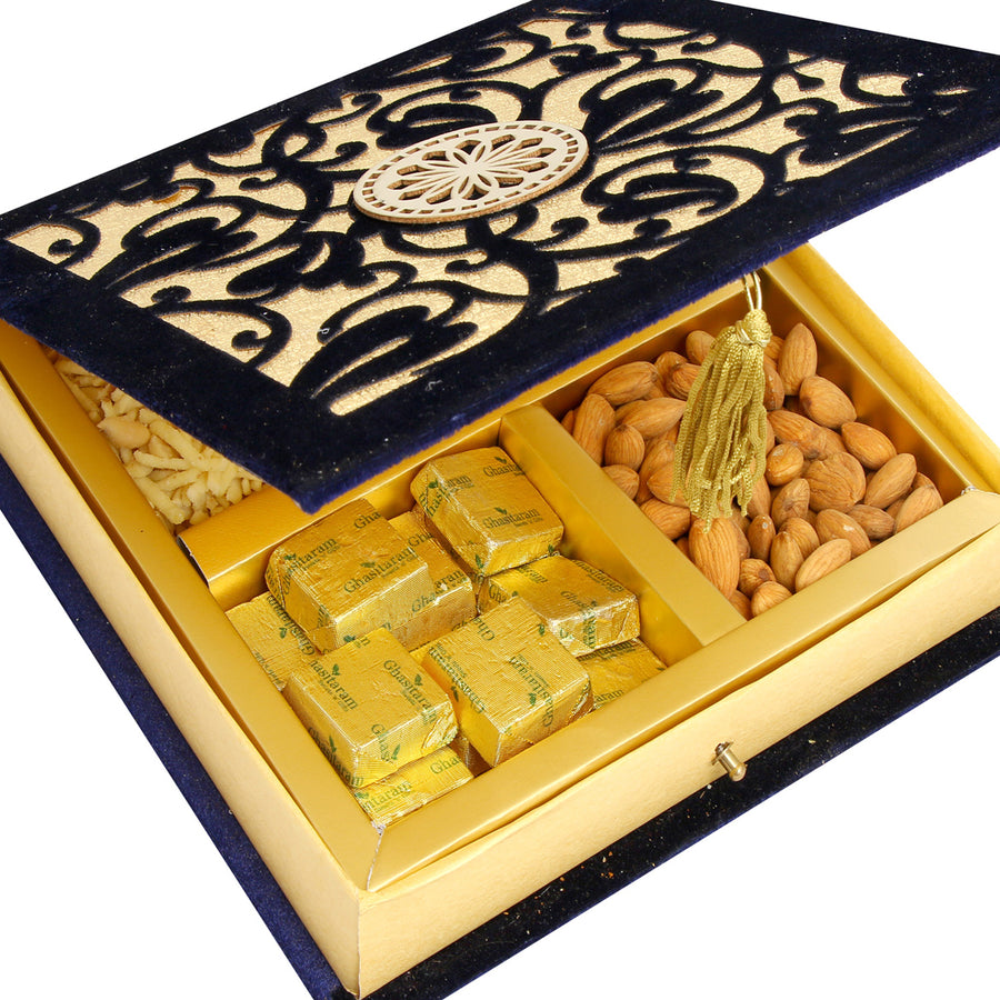 Diwali Hampers -Blue Velvet Almonds, Pistachios, Chocolate and Namkeen Box