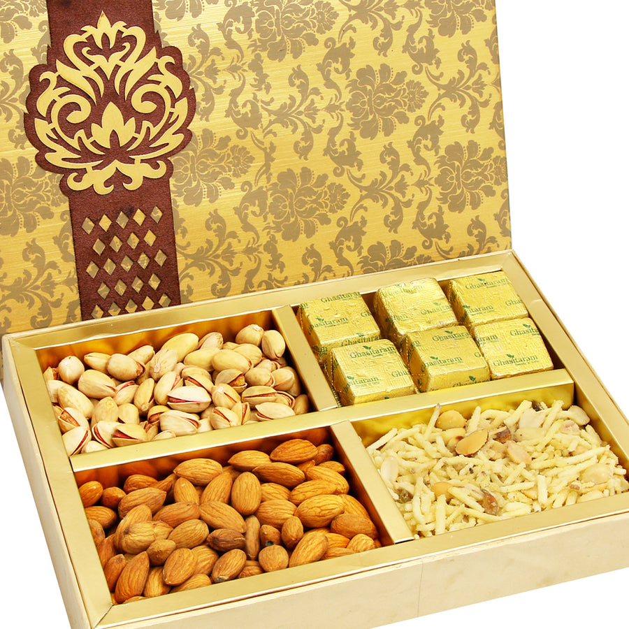 Diwali Hampers -Brown Printed Almonds, Pistachios, Chocolate and Namkeen Box