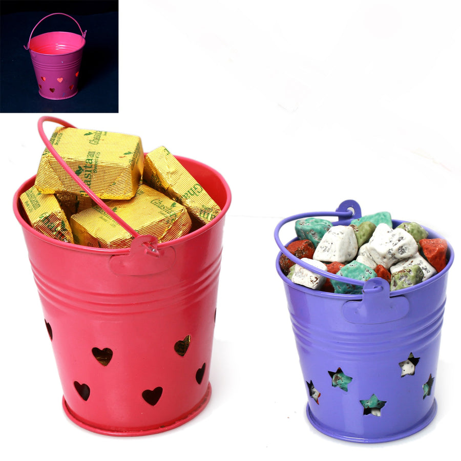 Ghasitaram Gifts Chocolates - Bucket T-lite Holders with Chocolate and Stone Chocolate