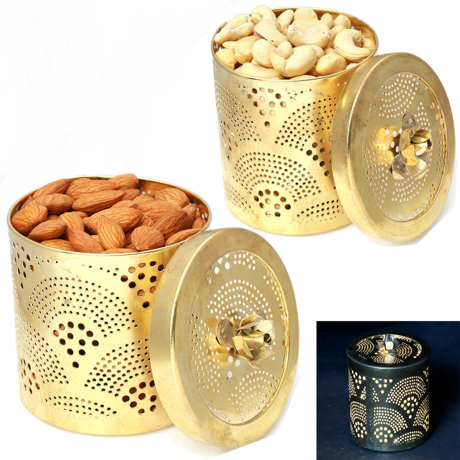 Diwali Dryfruits-Golden Almonds and Cashew Jars