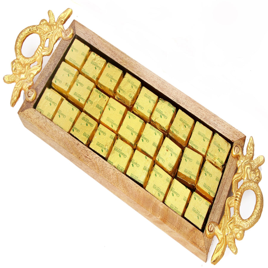 Ghasitaram Gifts Chocolates -  Golden Handle Wooden Assorted Chocolates Tray