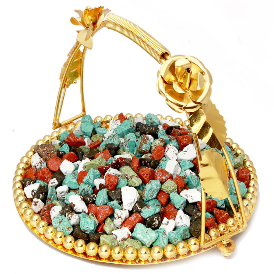 Ghasitaram Gifts Chocolates - Golden Metal Stone/Rock Chocolate Thali