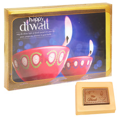 Diwali Chocolates-Happy Diwali Pink Chocolate Box