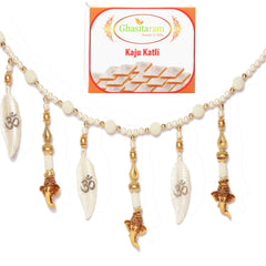 Diwali Gifts Decoration- Leaf Ganesha Pearl Toran with 200 gms Kaju Katli