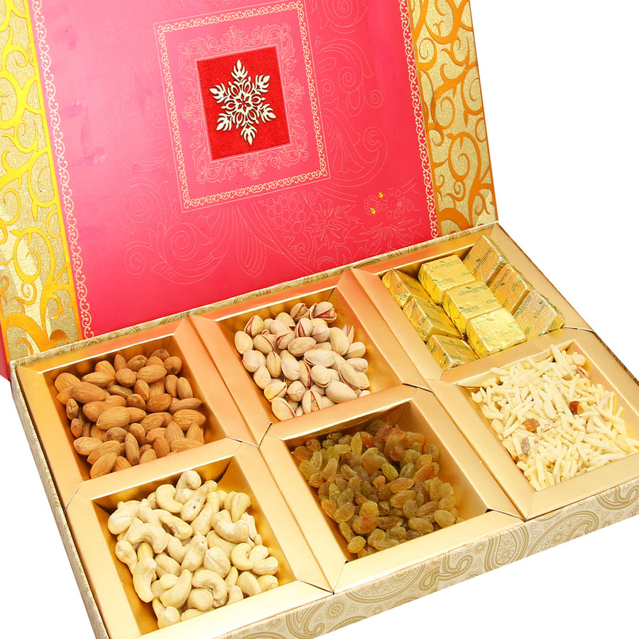 Diwali Hampers-Pink Laser 6 part Dryfruits, Chocolate and Namkeen Box