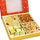 Diwali Hampers - Red Printed 4 Part Almonds,Pistachios,Chocolate and Namkeen Box