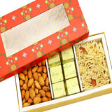 Diwali Hampers - Red Printed 3 Part Almonds,Chocolate and Namkeen Box