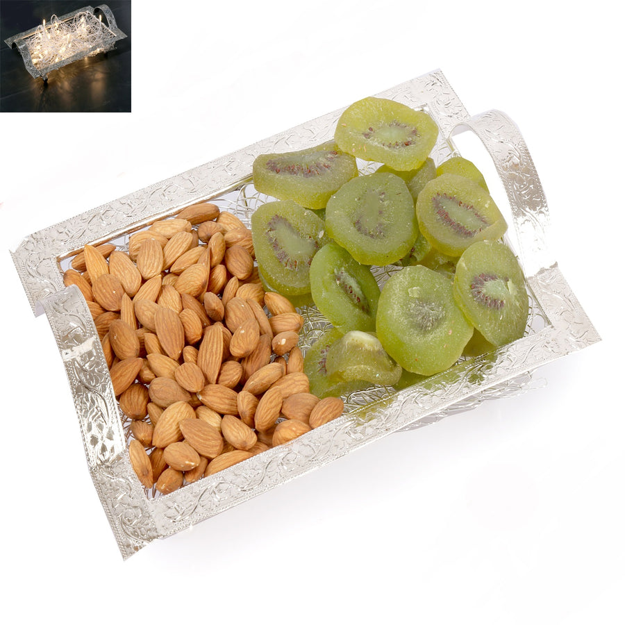 Diwali Dryfruits- Silver Mesh  Almonds and Kiwi Tray