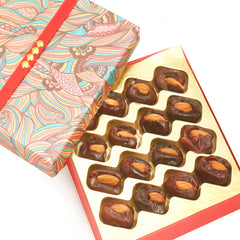 Diwali Dryfruits- Pink Print Premium Dates with Almonds Box