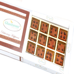 Diwali Gifts Sweets-  Ghasitaram's Chocochip Mawa Barfi  in White Box