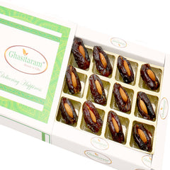 Diwali Dryfruits- Premum Dates with Almonds in White Box