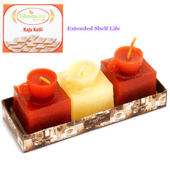 Diwali Candles Set of 3 Coffee Cups Scented Candles with 200 gms kaju Katli
