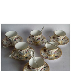 Da Facioun Tableware Serving Printed Tea Coffee Cups Saucer Spoon Pack 18 Pcs