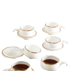 Da Facioun Tableware Serving White Coffee -Tea Cups Saucer Set 12 Pcs