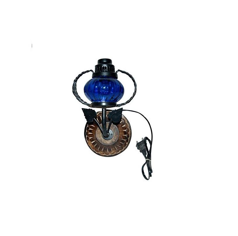 Desi Karigar Wooden & Iron Fancy Wall Hanging Electric Chimney Lamp Color Blue