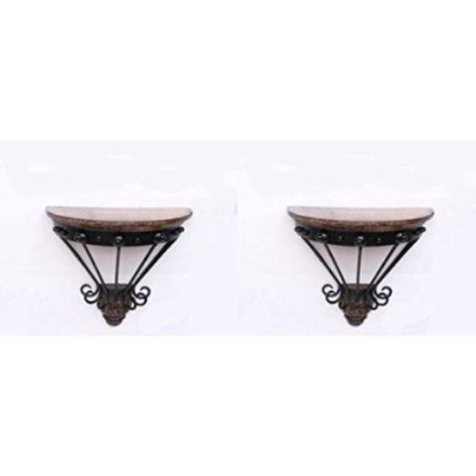 Desi Karigar Wooden & Wrought Iron Wall Bracket D-Shape Pack of 2