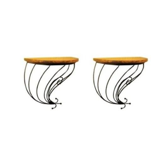 Desi Karigar Wooden & Wrought Iron Wall Bracket Pack of 2