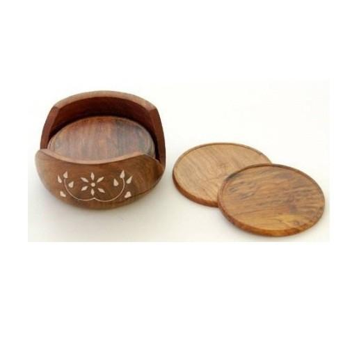 Desi Karigar Wooden Carved Tea Coaster Set of 6 Plate with Stand dining table serving office