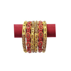 Artificial Bangles & Kada Set 6pcs - Maroon & Golden Color