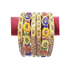 Traditional fashionable gold multicolor artificial bangles & kada set