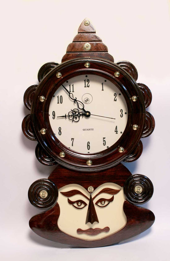 Wooden Kathakali Face Wall Clock