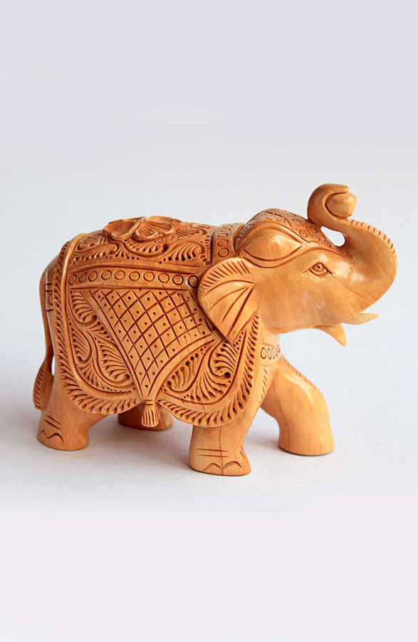 Handcrafted Wooden Elephant Statue