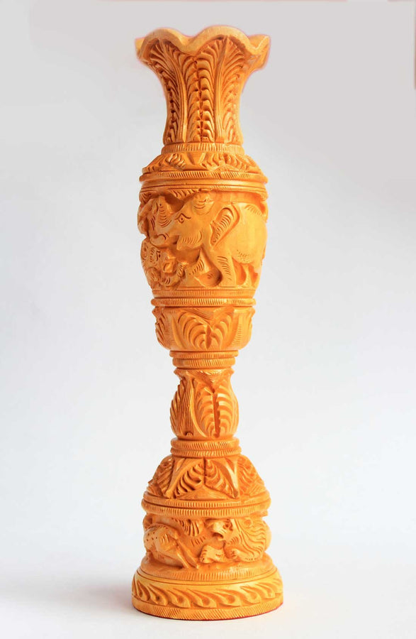 WOODEN CARVED FLOWER VASE