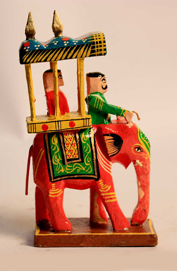 WOOD KING SITTING ON ROYAL ELEPHANT - RED