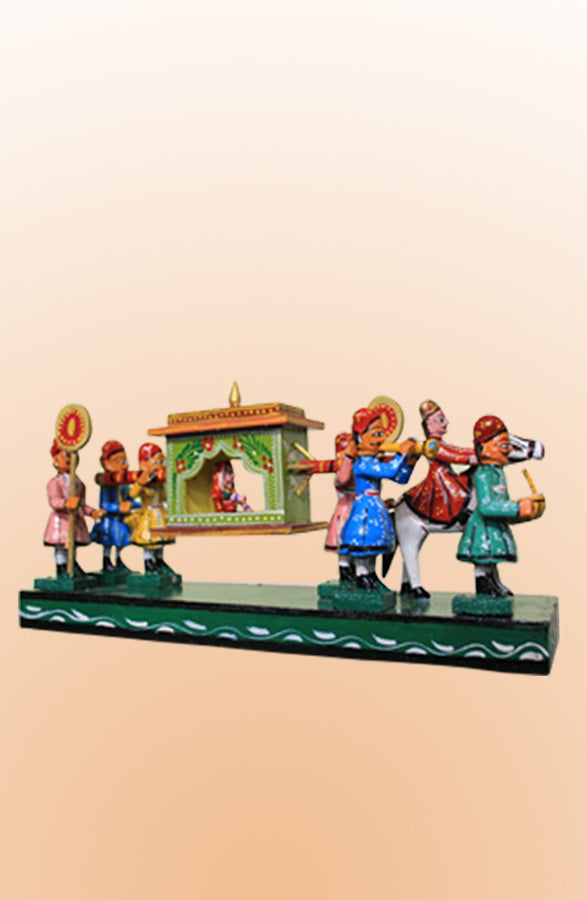 Wooden Multicolor Palanquin Showpiece