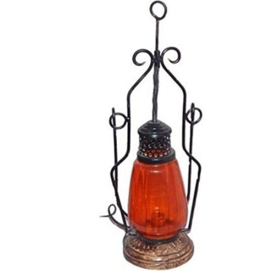 Desi Karigar Orange Cast Iron, Glass, Wooden Lantern