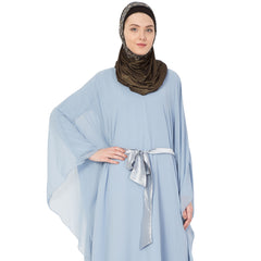 Double layer full flayered kaftan abaya sky blue with satin belt
